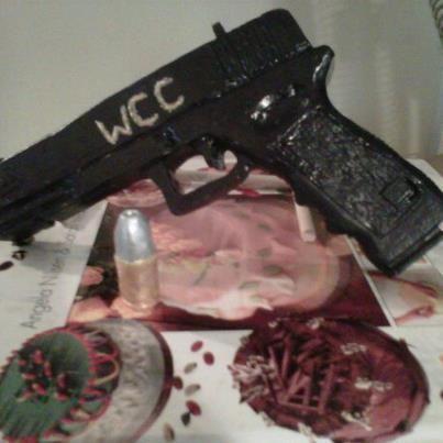 Handmade Gum Paste Glock with bullet