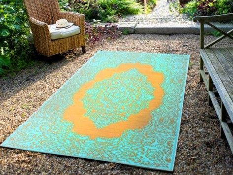 loving this colorful outdoor rug In the Garden