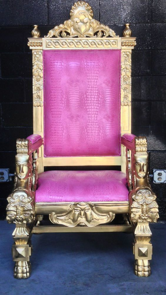 And queen chairs on pinterest throne chair king chair and chairs - Gold Amp Pink Croc Hollywood Regency Large King Ralph Chair