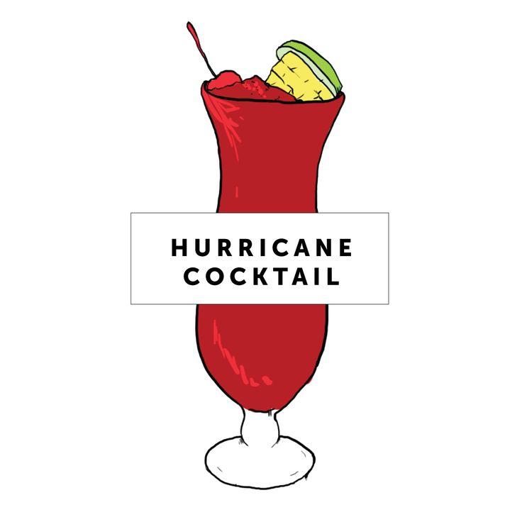 Hurricane Cocktail Recipe | Mardi gras party | Pinterest