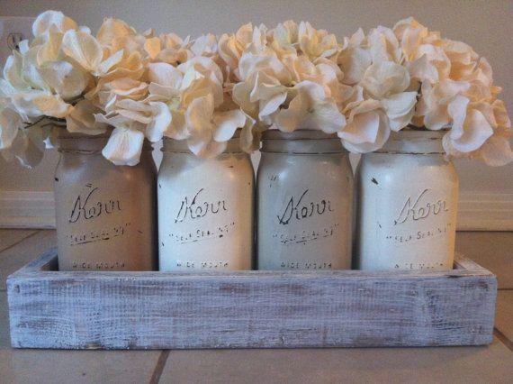 Rustic Mason Jar and wood box table Centerpiece wedding shabby chic distressed v