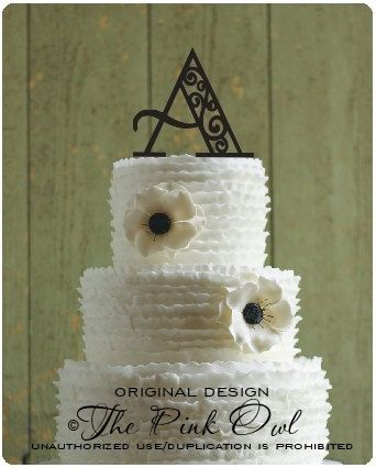 Wedding Cake Topper Monogram Scroll Design 6 Inch Personalized With Y