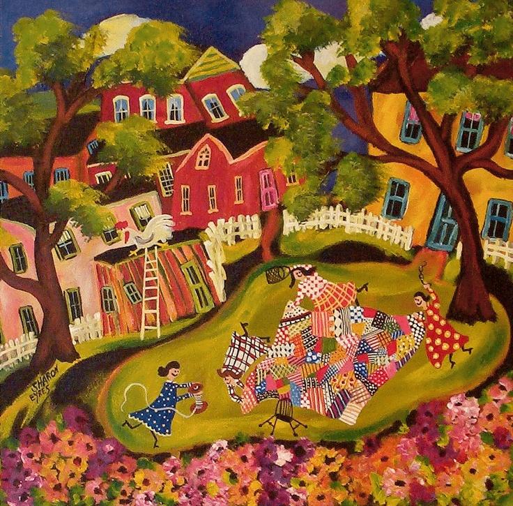 sharon eyres-莎朗·艾爾斯-加拿大女畫家,原始民間藝術, 天真的構圖和繪畫的簡單感, 趣味洋溢的作品。。。 - ☆平平.淡淡.也是真☆  - ☆☆milk 平平。淡淡。也是真 ☆☆