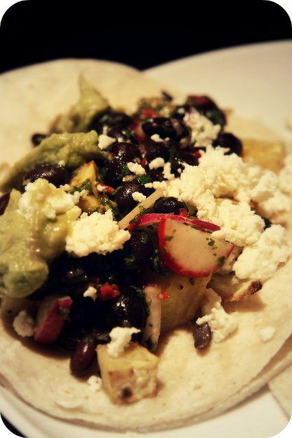 Vegetarian roasted sweet potato, onion, and black bean taco/burrito ...
