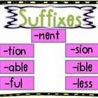 Suffixes: ~tion,~sion,~able,~ible,~less,~ment,~ful