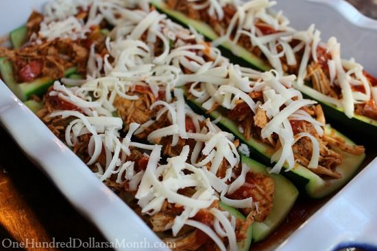 Chicken Enchilada Stuffed Zucchini Boats | Ethnic Night | Pinterest