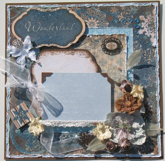 Wedding scrapbook layouts on pinterest scrapbook pages scrapbook - Premade Scrapbook Page Layout Winter Vintage Shabby Chic