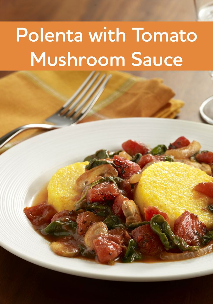 Polenta with Tomato Mushroom Sauce is an easy vegetarian recipe to ...