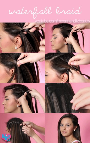 """Check out our easy """"how to"""" video to waterfall braiding!!<3 http://www.youtube.com/watch?v=7mIGU74Gq_Y #meganandliz #beauty #hair #video #tutorial #diy #waterfall #braid #style is it weird this is me?? hahaha"""