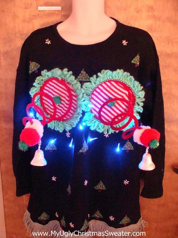 Trees and Wreaths Light-up Naughty Ugly Christmas Sweater