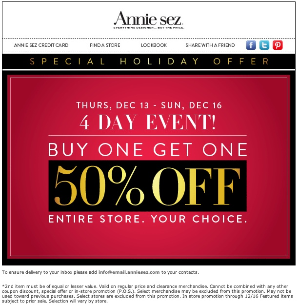 Annie sez discount coupons
