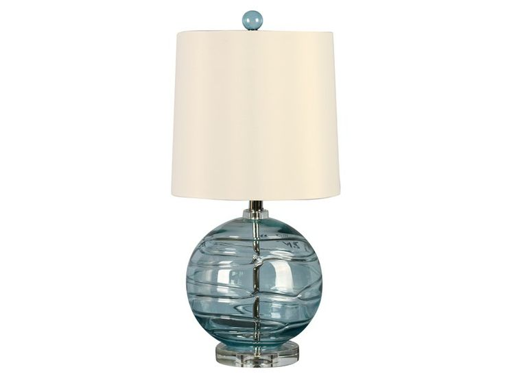 illuminada lighting 3 way blue glass table lamp with natural ivory. Black Bedroom Furniture Sets. Home Design Ideas