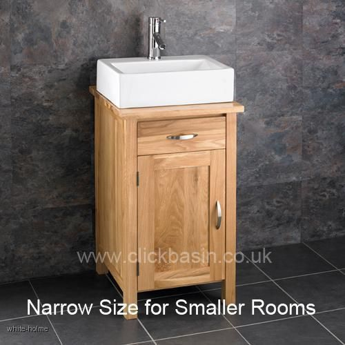 solid oak ohio narrow bathroom sink cabinet with ceramic basin tap. Black Bedroom Furniture Sets. Home Design Ideas