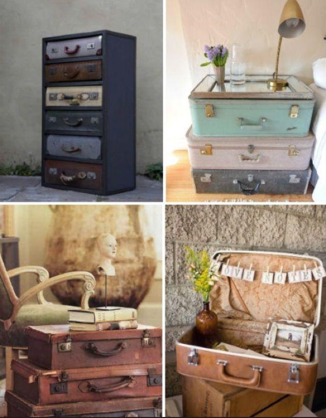 Decor ideas for vintage suitcases vintage suitcases for Antique decoration items
