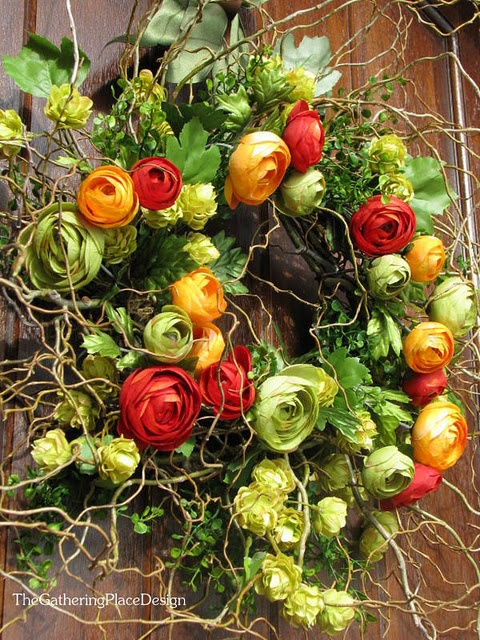 Wreath with Ranunculas, Spanish moss, and Ivy