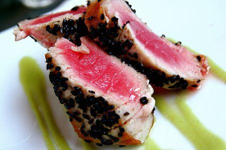 Sesame seared tuna with wasabi butter sauce