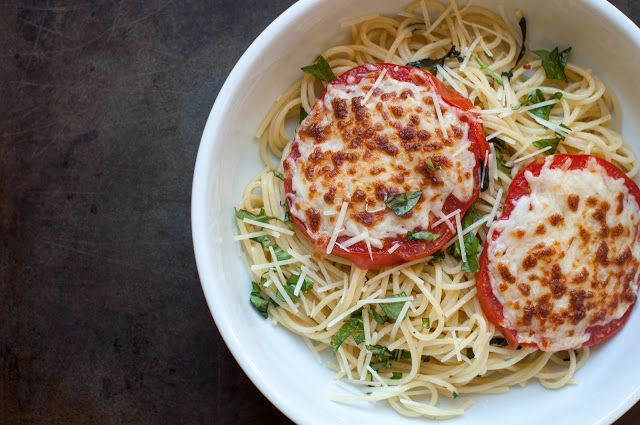 spaghetti with cheesy broiled tomatoes and basil - Marin Mama Cooks