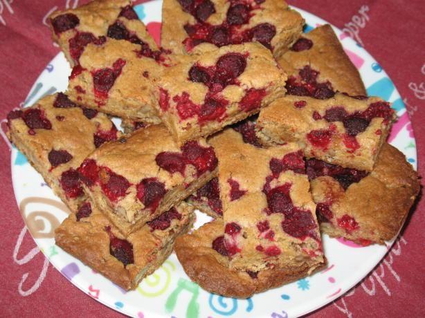 Raspberry pecan blondies #food.com