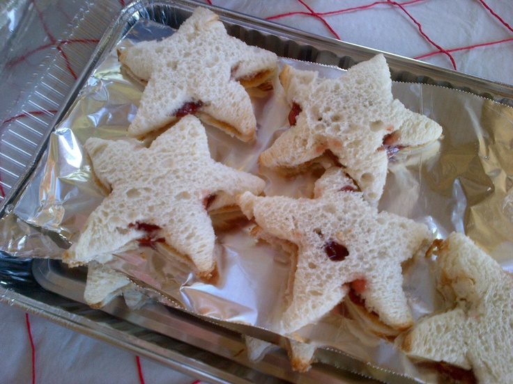 two bags of bread, assembled PB & J sandwiches, used starfish cookie ...