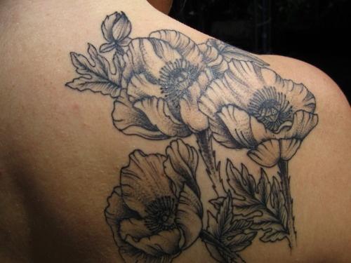 Poppy tattoo black and white