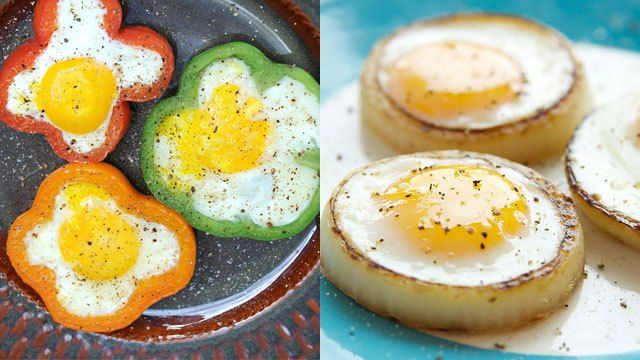 Breakfast: Eggs cooked in bell peppers and onion rings