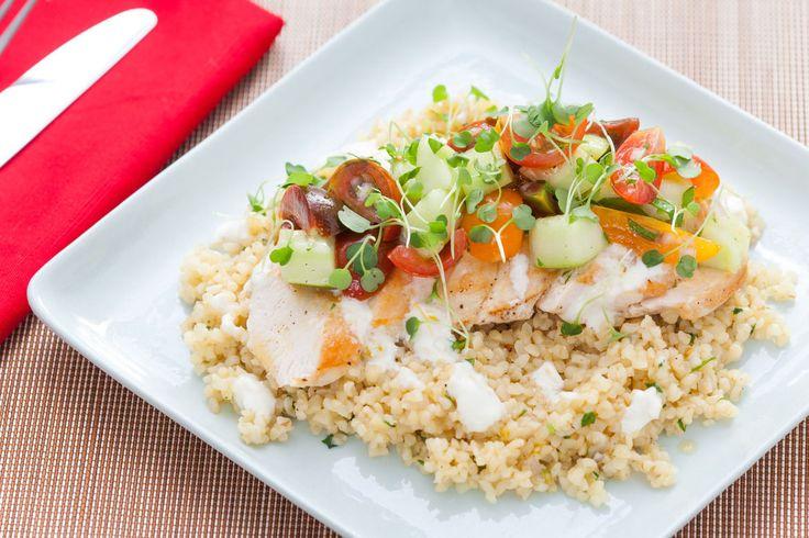 ... chicken amp sautéed bulgur with tomato salad amp creamy lemon yogurt