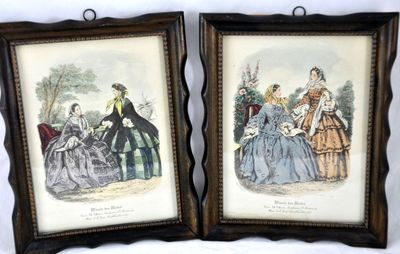 Miroir des modes vtg paris in 1860 39 s fashion print for Miroir des modes value