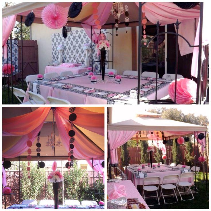 Backyard setup for damask baby shower bby mia pinterest for Backyard baby shower decoration ideas