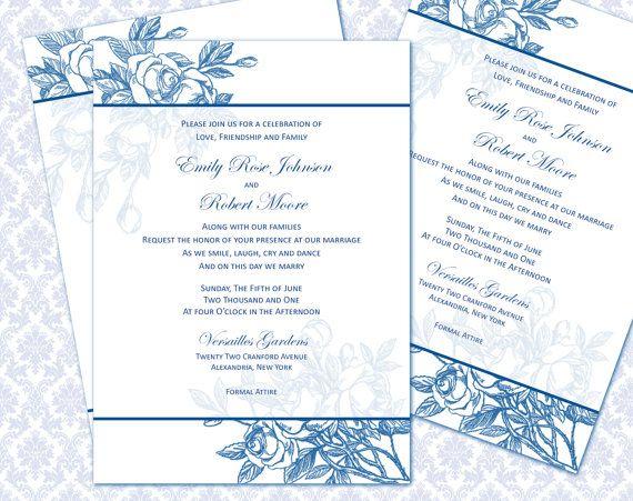 DIY Printable Wedding Invitation Template 5x7 by WeddingsbyJanieV, $8 ...