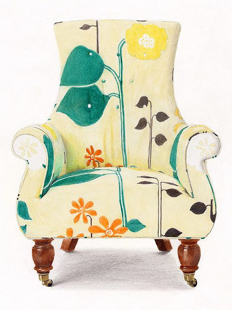 Fun fabric with Prismacolor markers and some colored pencils by Y Tang | Chair from Anthropologie