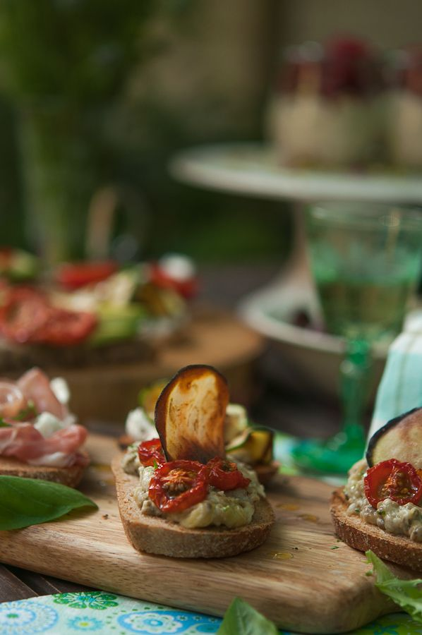 ... Roasted Tomato Bruschetta, Serrano Ham and Mozzarella Bruschetta