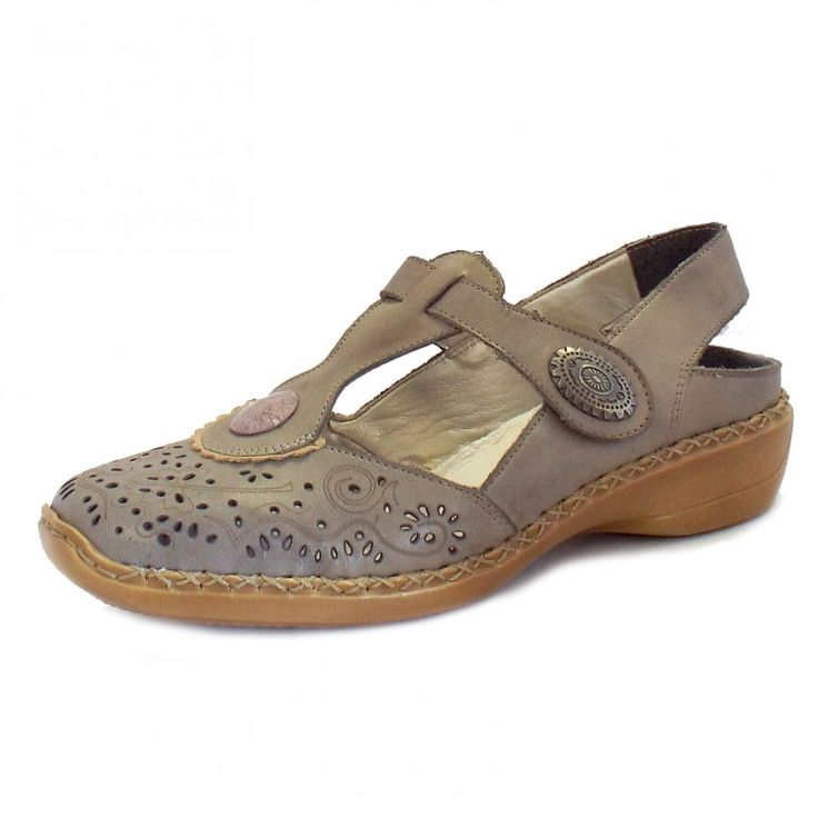 Rieker Shoe Sale | Gravity Ladies Grey Leather Mary Jane Slingbacks