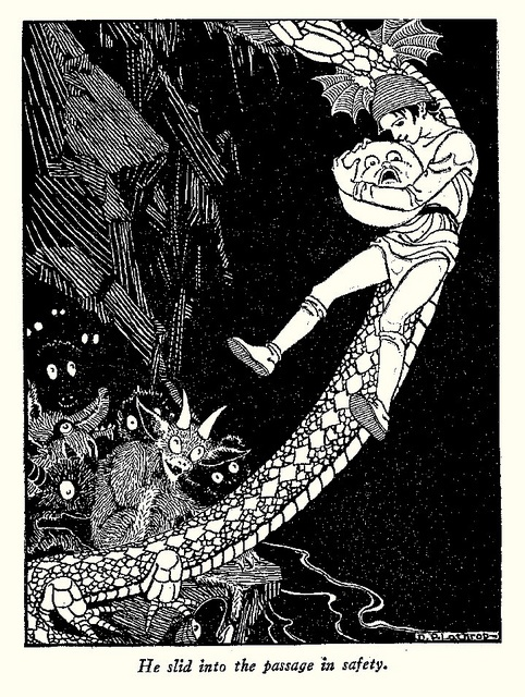 He slid into the passage in safety - The Princess and Curdie by George MacDonald, 1942