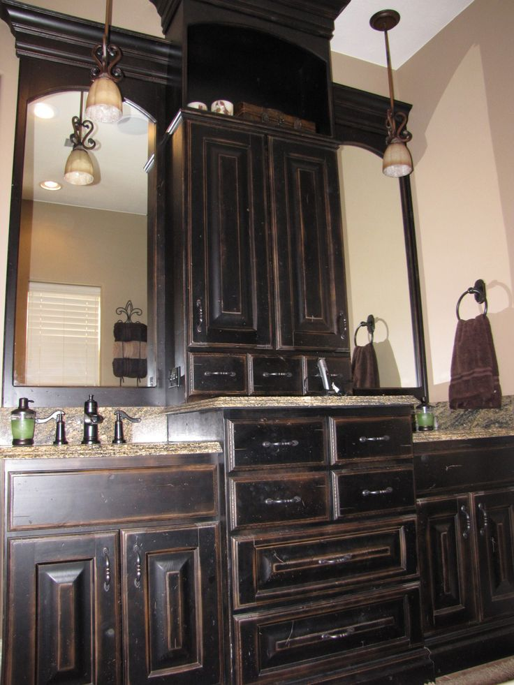 Cabinets black painted master vanity master bathroom pinterest - Painting bathroom cabinets black ...