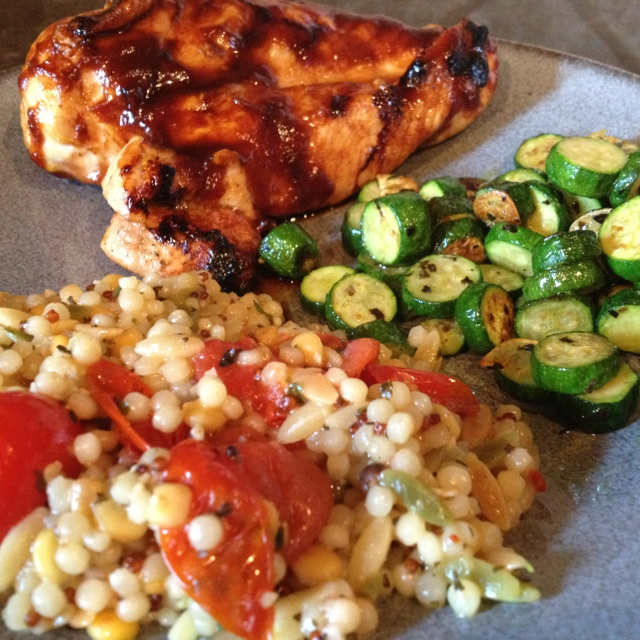 Barbecued chicken with sautéed baby zucchini and harvest grain quinoa