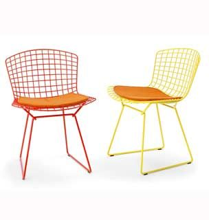 The bertoia side chair is available in black white red yellow green