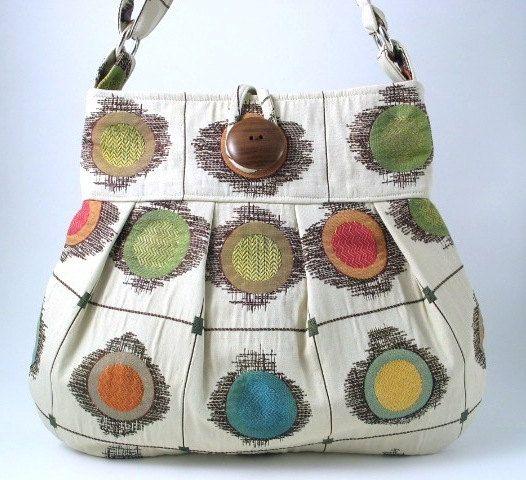 Large handmade pleated bag massangerdiaper bag by daphnenen, $79.00