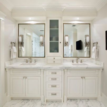 Pin by lindsay weir on new master bath bedroom closet for Master bathroom cabinet designs