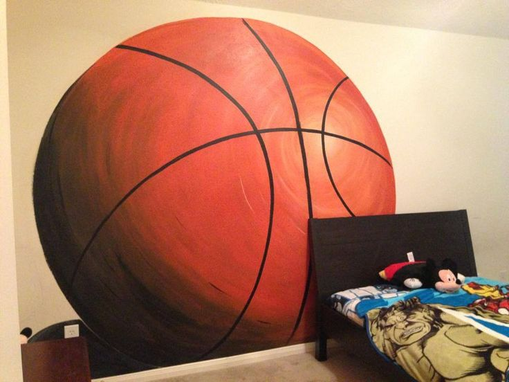 Basketball mural karsten 39 s sports bedroom pinterest for Basketball mural wallpaper