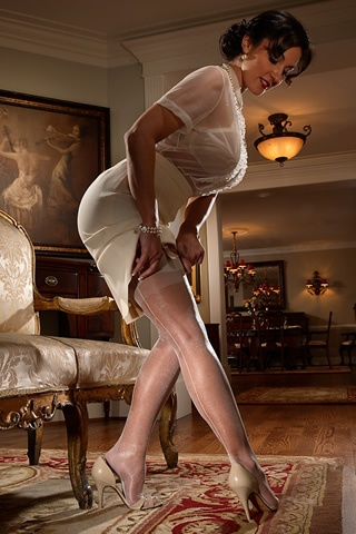 Radiance is a Fully Fashioned Stocking with a French Heel treatment and Secrets In Lace imprint on the welt. Style 9520  $39.00