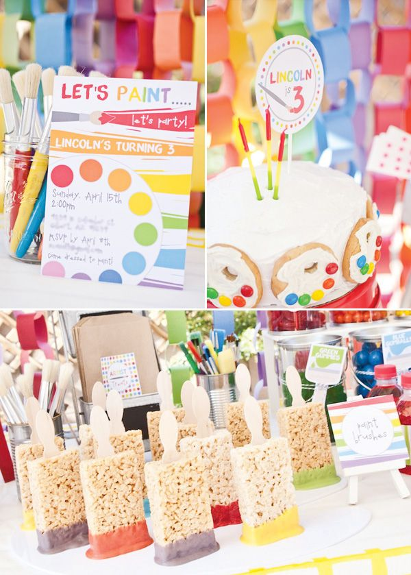 """Paint Party color toddler preschool birthday – Colorful candy displayed in clear paint cans with cute paintbrush labels  – Painters palette cookies made with m and vanilla frosting  – ""Artist Tools"" utensil packets in awesome orange chevron bags  – Masterpieces by all the guests using paints  Spin Art!"" This is awesome! I think I will definitely be using this in the future!!!"