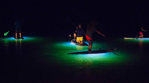 Hawaii- LED lights brighten up the water below for some paddleboarding at night in the Hanalei Bay river.