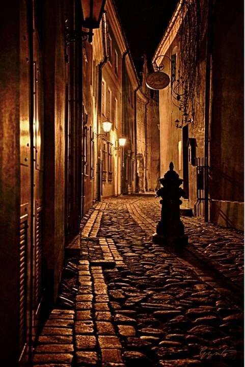 Old city street at night   NIGHT LIGHT   Pinterest