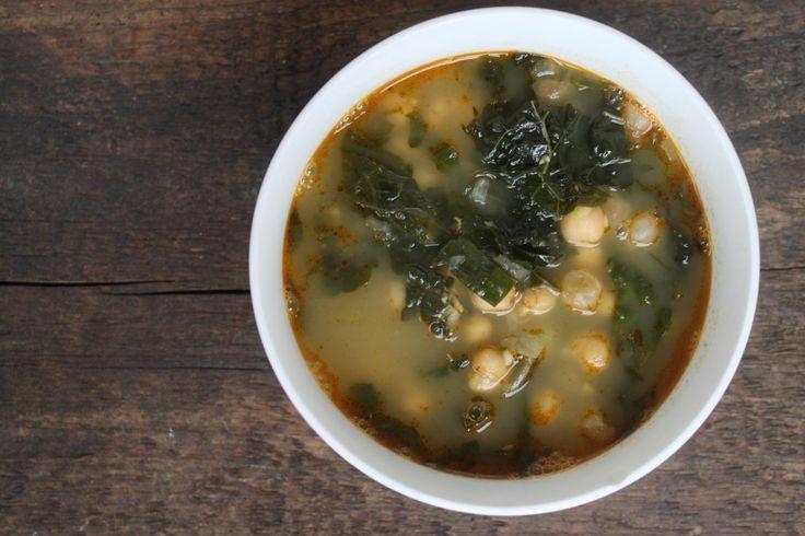 Harissa, Kale and Chickpea Soup - Vegan | Vegan Recipes | Pinterest