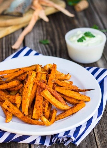 Baked Sweet Potato Fries with Curry Cilantro Mayo | Tasty Kitchen: A ...