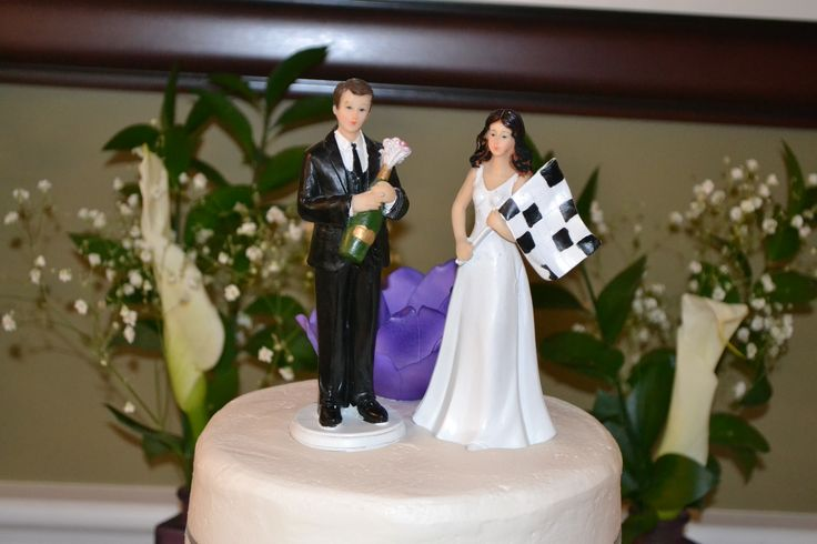 race car wedding cake topper