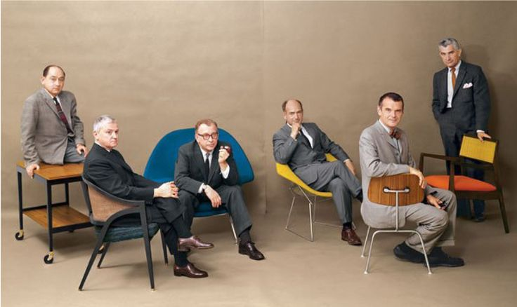 George Nelson, Edward Wormley, Eero Saarinen, Harry Bertoia, Charles Eames and Jens Risom