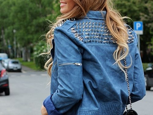 Summer blue leather jackets. Love the studs...