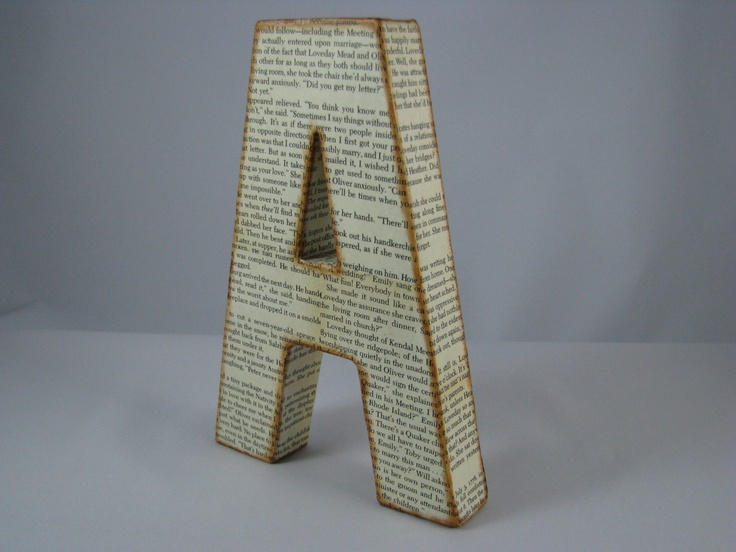 customize old book pages 3D letters book lovers gift readers book worm home art rooms gifts giveaways kids room nursery decor. $18.00, via Etsy.