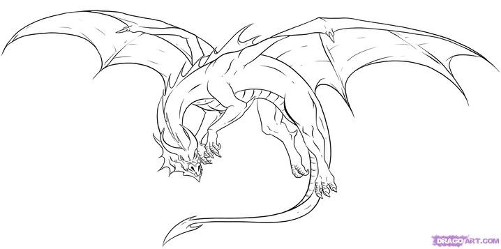 Simple Dragon Line Art : A real artest would color that bad boy awesome dragons